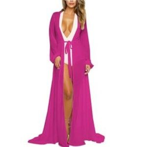 Luxurious Long Sleeve Swimsuit Kimono Cover-Up NWT